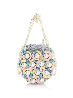 Mini Candy Floss Faux Pearl & Raffia Top Handle Bag