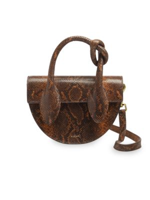 Dolores Snakeskin-Embossed Leather Top Handle Saddle Bag