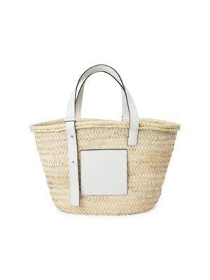Leather-Trimmed Basket Bag