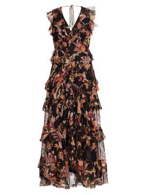 Wavelength Frilled Floral Silk Maxi Dress
