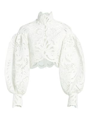 Wavelength Embroidered Lace Top