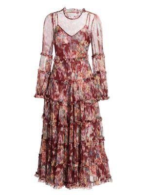 Wavelength Floral Teired Ruffle Silk Midi Dress