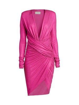 Long Sleeve Ruched Microcrystal Mini Dress