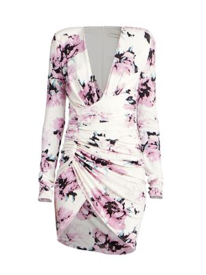 Floral Long Sleeve Jersey Mini Dress