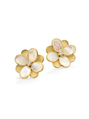 Petali 18K Gold, Diamond & Mother-Of-Pearl Small Flower Stud Earrings