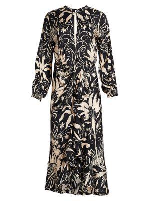 Tropical Silk Draped Midi Dress