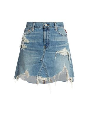 Page Mid-Rise Distressed Denim A-Line Skirt