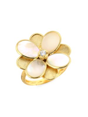 Petali 18K Yellow Gold, Mother-Of-Pearl & Diamond Small Flower Ring