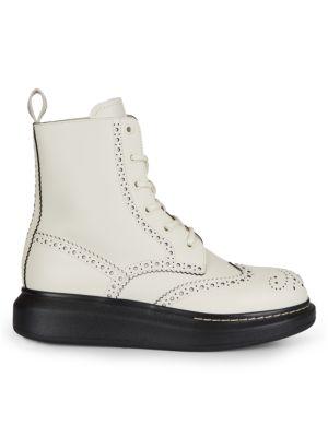 Leather Platform Combat Boots
