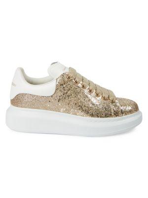 Women's Glitter Leather Platform Sneakers