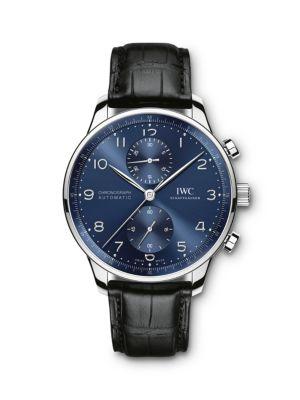 Portugieser Stainless Steel & Alligator Strap Chronograph Watch
