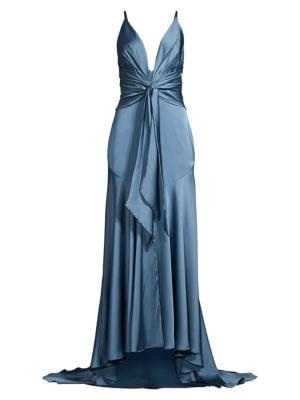 Lake Draped Satin Gown