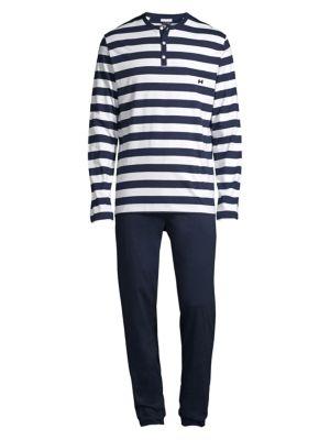 Pavillon 2-Piece Striped Henley Top & Pants Pajama Set