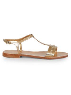 Tremiti Embellished Metallic Leather T-Strap Sandals