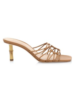 Dileni Bamboo-Heel Leather Mules