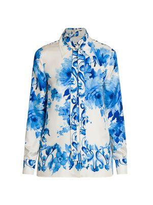Floral Silk Tieneck Blouse