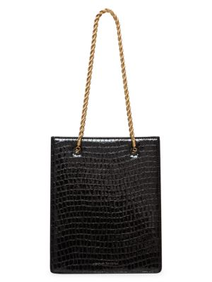 Antoinette Croc-Embossed Leather Shopper Tote