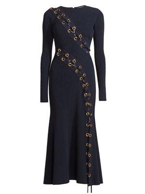 Lace-Up Rib-Knit Midi Dress