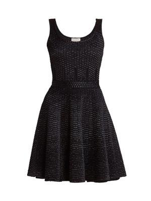 Raffia Inset Fit-&-Flare Dress