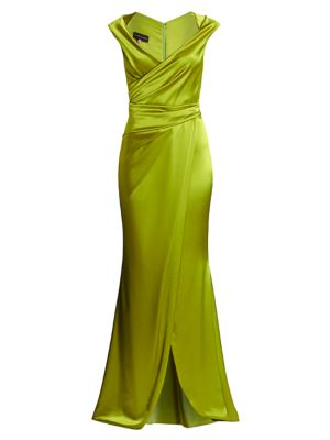 Wrap Crepe Satin Gown