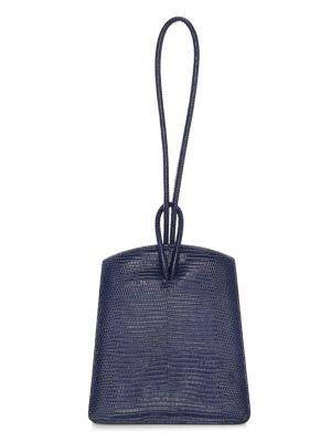 Loop Lizard-Embossed Leather Top Handle Bag