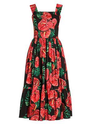 Tropical Floral-Print Poplin Apron Dress