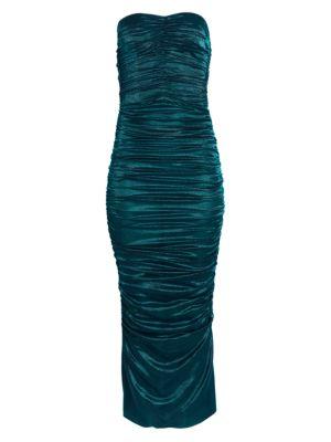 Lamé Stretch-Silk Ruched Midi Dress