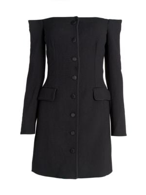 Off-The-Shoulder Wool-Blend Jacket Dress