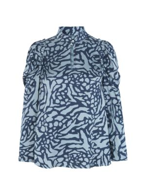 Elian Puff Sleeve Printed Blouse