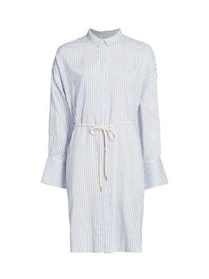 Eastcoast Pinstripe Tie-Waist Shirtdress