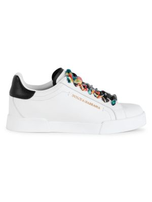 Portofino Floral Scarf Leather Sneakers