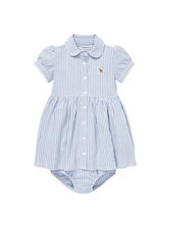 폴로 랄프로렌 여자 아기용 투피스 셔츠 원피스 & 블루머 세트 Polo Ralph Lauren Baby Girls 2-Piece Oxford Shirtdress & Bloomers Set,Pink