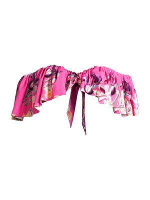 Grace Off-The-Shoulder Ruffle Printed Bikini Top