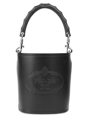 City Heritage Logo Leather Bucket Bag