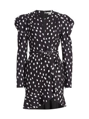 Polka Dot Button Wrap Dress