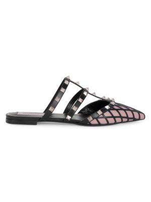 Valentino Garavani Rockstud Grid Flat Leather Mules
