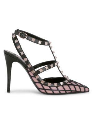 Valentino Garavani Rockstud Grid Leather Ankle-Strap Pumps
