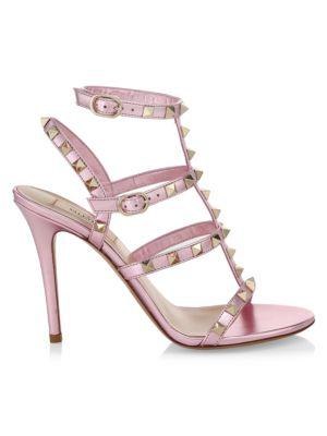 Valentino Garavani Rockstud T-Strap Metallic Leather Sandals