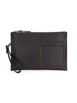 Grained Leather Zip Pouch