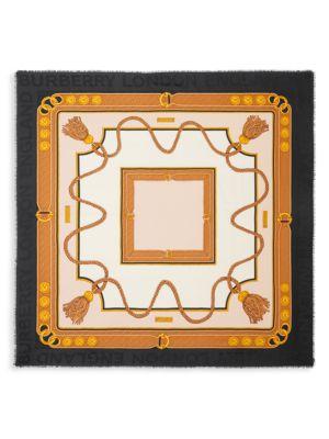 Archive Tassel-Print Large Square Scarf