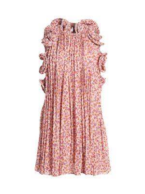 Mimi Halter Ruffle Pleated Mini Dress