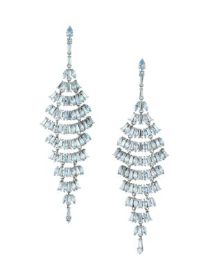 Silvertone & Aqua Cubic Zirconia Layered Chandelier Earrings