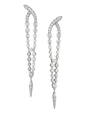 Silvertone & Cubic Zirconia Tapered Drop Earrings