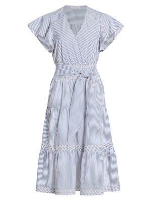 Bessie Stripe Cotton Poplin Ruffle Dress