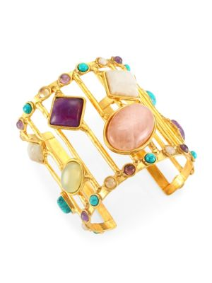 22K Yellow Goldplated & Multi-Stone Cage Cuff