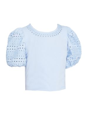 Charity Eyelet Puff-Sleeve Top