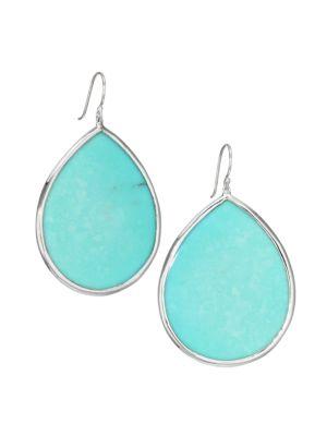 Ondine Large Sterling Silver & Turquoise Teardrop Earrings