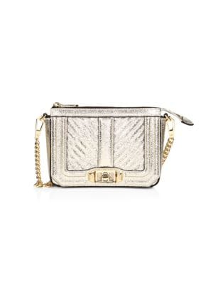 Love Chevron Quilted Metallic Leather Shoulder Bag