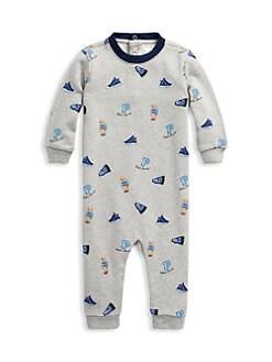 버버리 남아용 랄프로렌 잠옷 Polo Ralph Lauren Baby Boys Polo-Print Coverall,Grey
