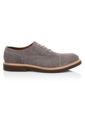 Cap-Toe Suede Oxford Shoes